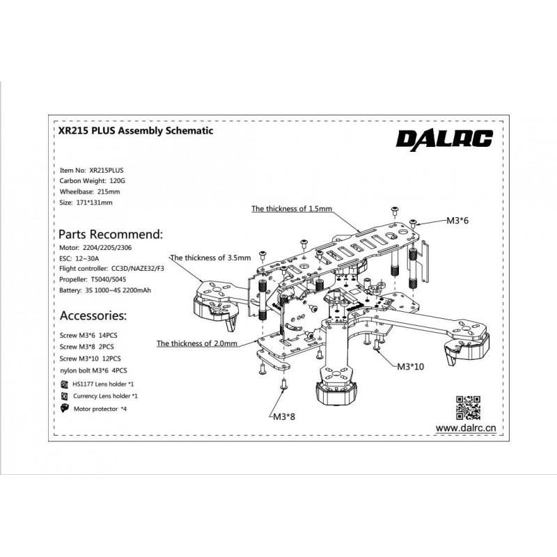 DALRC XR215 Plus Full Carbon Fiber Quad Frame for FPV Racing FPV Build on