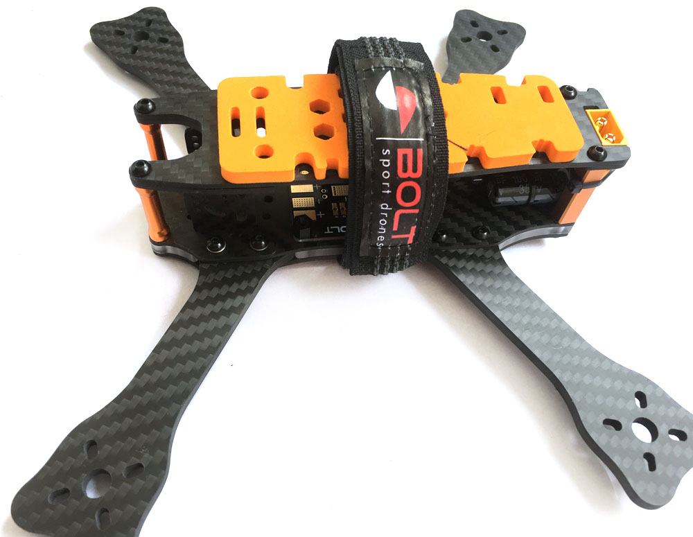 BoltRC BlackOps V2 Stealth Frame Kit, with PDBs, battery Strap and battery foam pad.